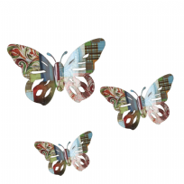Metal Wall Art Multi Coloured Butterfly - Set of 3